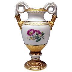 Meissen Snake Handles Vase Nice Flowers Morning Glory, circa 1950