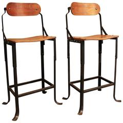 Pair of Vintage Industrial Domore Metal and Wood Adjustable Bar, Counter Stools