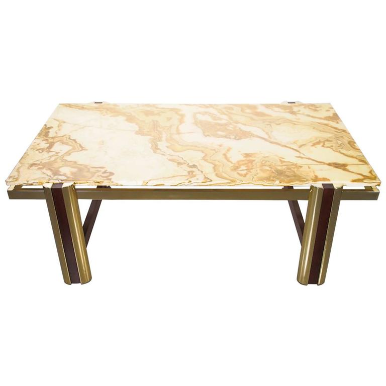 Marble Coffee Table with Brass Frame, 1985