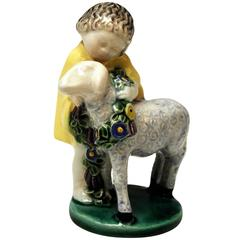 Michael Powolny Art Nouveau Vienna Child with Lamb,  MP WK GK  circa 1913-1919