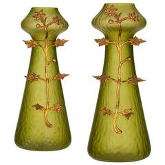 Pair of Art Nouveau Vase with Decorative Metalwork in the Style of Loetz