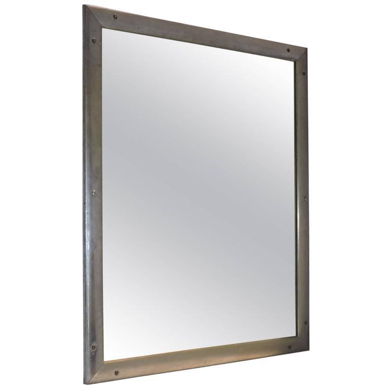 Antique Industrial Aluminum Mirror For Sale