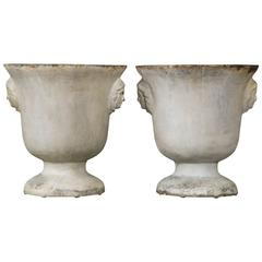 Pair of Cast Iron Vases with White Enamel Decor from Rouen, circa 1850