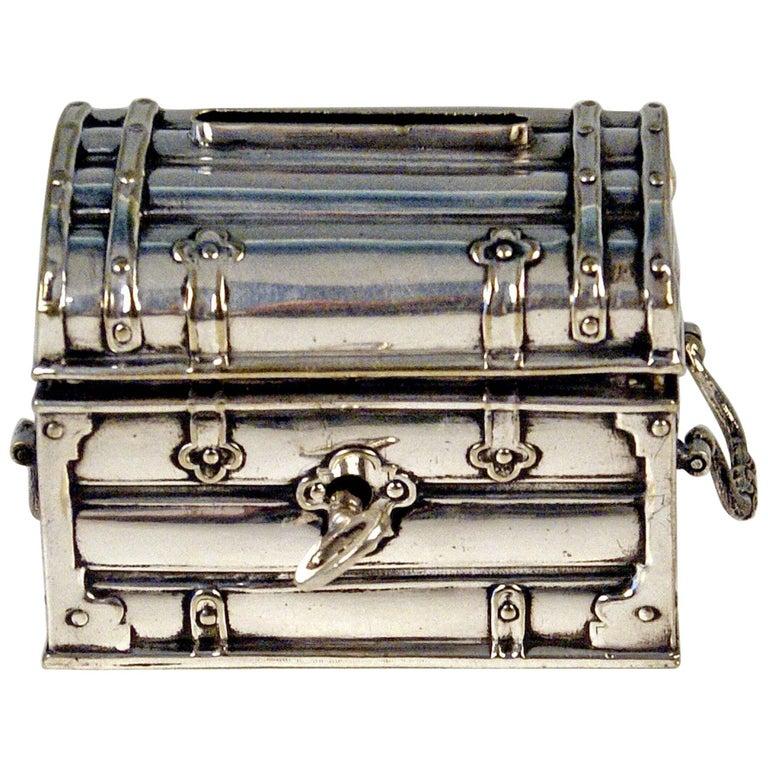 Austrian Silver Money Box Piggy Bank Treasure Chest, circa 1880-1885
