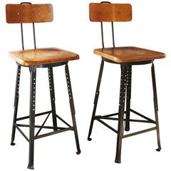 Pair of Vintage Industrial Adjustable Wood and Metal Bar Stools