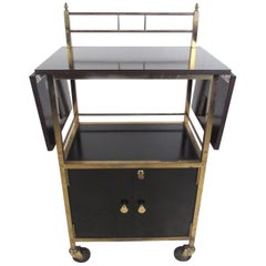 Black Lacquer Mid-Century Service Cart by Maxwell Phillips