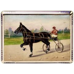 Austrian Silver Cigarette Box Enamel Painting Vintage Sulky Driver, circa 1925