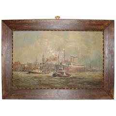 Signed 19th Century Oil on Canvas Boats in a Harbor