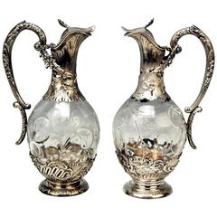 Silver French Pair of Gorgeous Glass Decanters, Paris H. Lapeyre, circa 1900