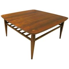 American Mid-Century Walnut Square Coffee or Cocktail Table with Magazine Rack