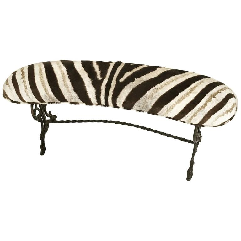 Vintage Victorian Style Iron Bench In Zebra Hide At 1stdibs