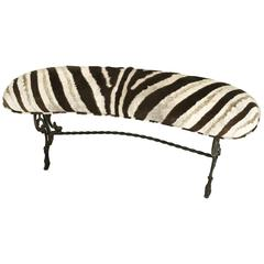 Vintage Victorian Style Iron Bench in Zebra Hide