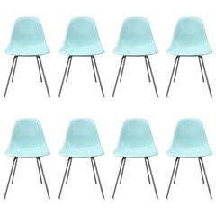 Eight Super Rare Herman Miller Eames Dining Chairs in Robin's Egg Blue