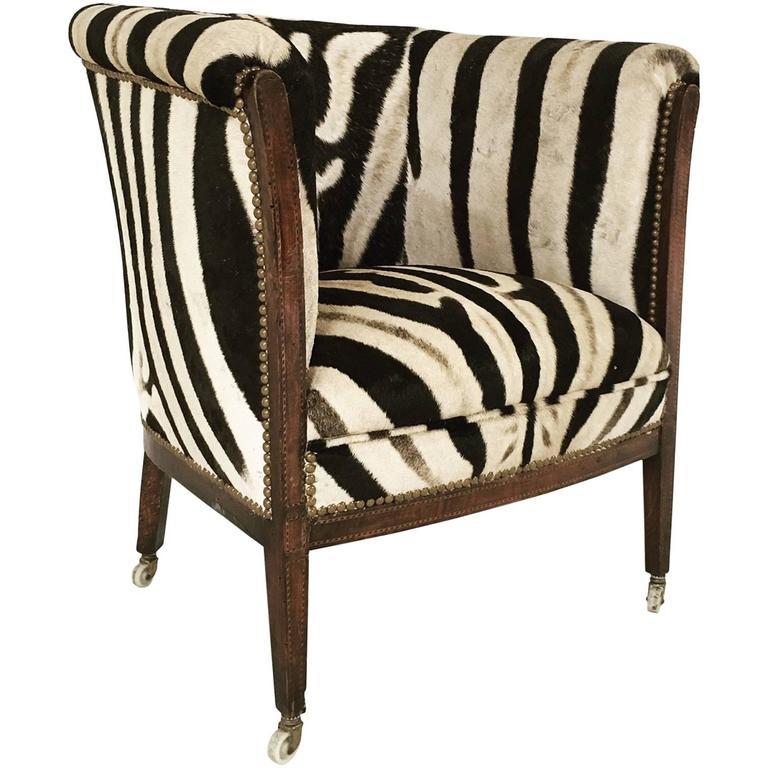 Vintage 1930s Barrel Chair in Zebra Hide at 1stdibs
