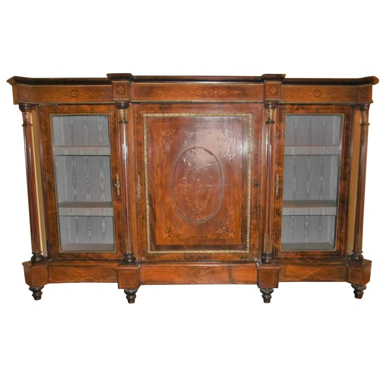 19th Century English Inlaid and Gilt-Mounted Credenza Breakfront