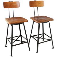 Pair of Vintage Industrial Wood and Metal Bar Stools