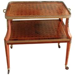French Inlaid Gallery Top Tiered Dessert Table