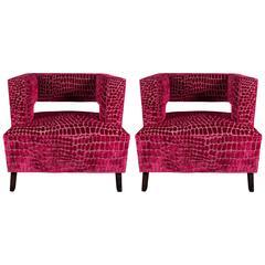 Pair of Mid-Century Modernist Club Chairs are Fuchsia Croc Gauffraged Velvet