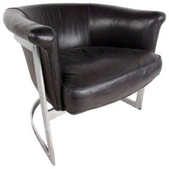 Vintage Modern Cantilever Leather Barrel Chair in the Manner of Milo Baughman