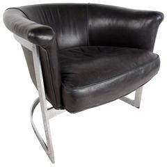 Mid-Century Cantilever Leather Barrel Chair in the Manner of Milo Baughman