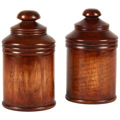 Pair of Wooden Treen Pots with Lids from Late 19th Century England