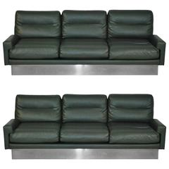 Rare Jacques Charpentier Leather Sofas, France, 1970s