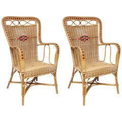 Pair of French Vintage Provence Rattan and Cane Armchairs