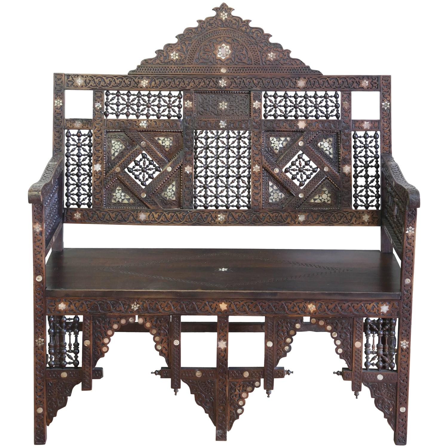 A Syrian Mother Of Pearl Bench Available To Purchase At: 19th Century Syrian Carved Inlaid Bench For Sale At 1stdibs