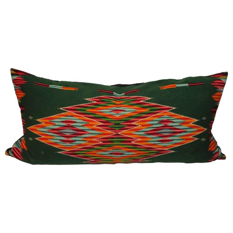 Monumental Mexican Serape Weaving Bolster Pillow For Sale