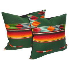 Pair of Mexican Handwoven Serape Pillows