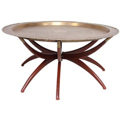 Moroccan Brass Tray Table on Folding Stand, 1960s, Mid-Century