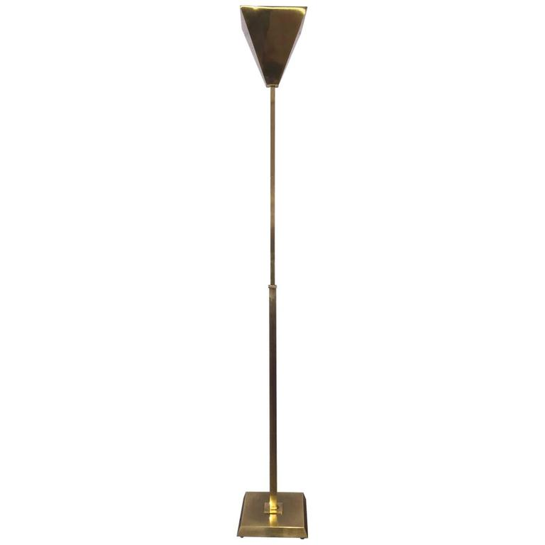 Adjustable Brass Torchiere Lamp by Nessen