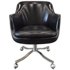 Nicos Zographos Black Leather Bucket Chair
