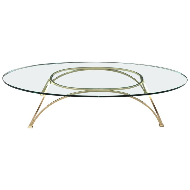 1950s French Bronze Oval Coffee Table