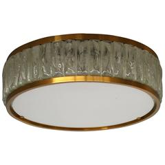 Fine French Art Deco Brass and Glass Flush Mount by Jean Perzel