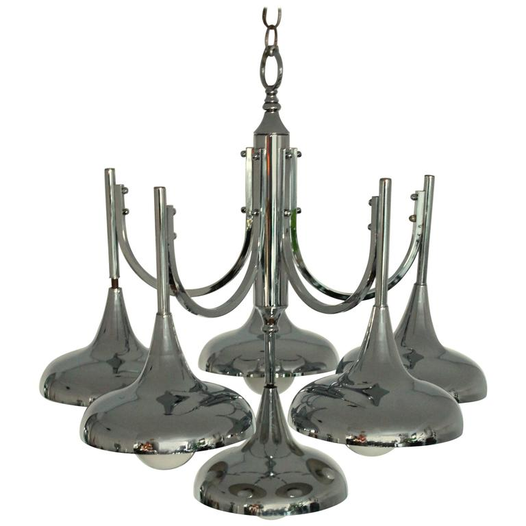 Six Arms Chromed Trumpet Chandelier in the Style of Reggiani/Sciolari, 1970s