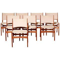 1950s Erik Buch Eight Teak Dining Chairs