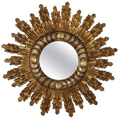 Spanish Baroque Style Silver and Giltwood Sunburst Mirror
