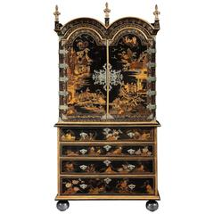 Queen Anne Japanned Secretaire Cabinet