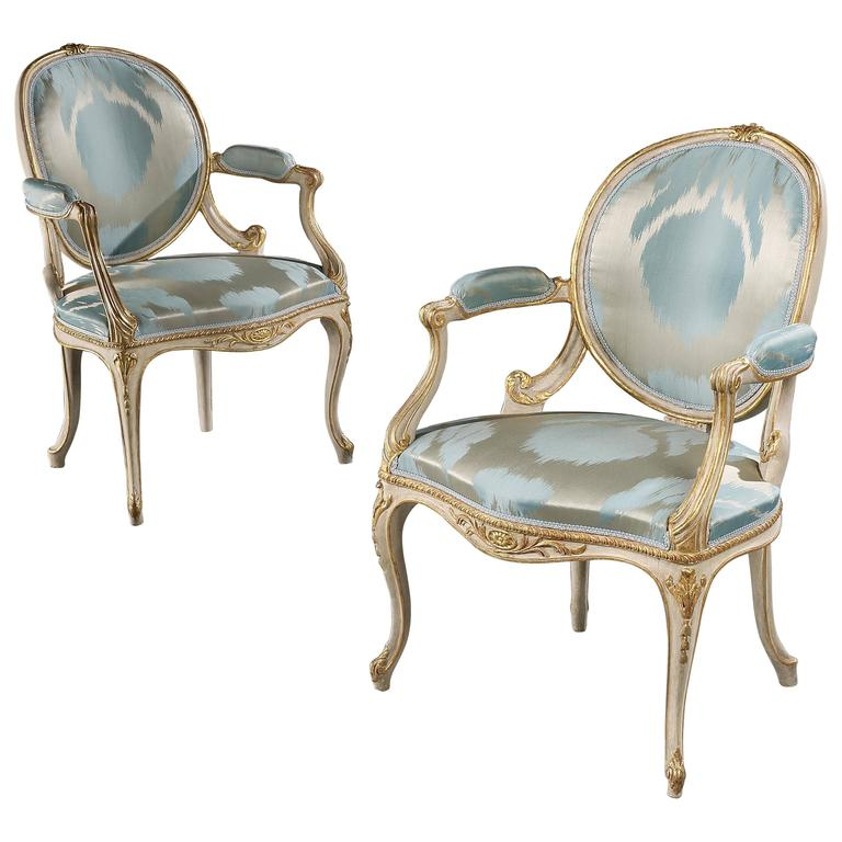 Pair of George III Painted and Gilded Open Armchairs