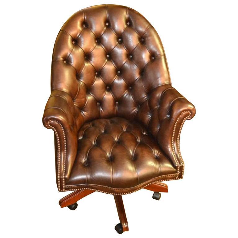English Handmade Leather Directors Desk Chair