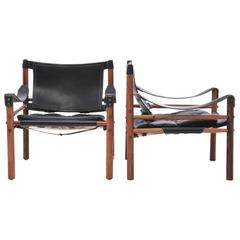 Pair of Arne Norell Safari Sirocco Chairs, 1960s, Sweden
