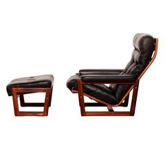 1950s-1960s, Lennart Bender for Ulferts, Leather Lounge Chair with Ottoman