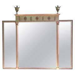 Edwardian Adam Revival Triptych Overmantel Mirror