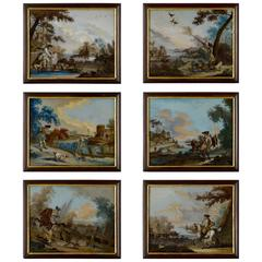 Set of Six Reverse Glass Hunting Pictures