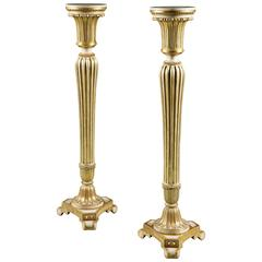Pair of George III Cream Painted and Parcel-Gilt Pedestals