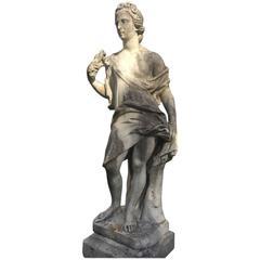 """18th Century Marble Garden Statue """"Flora"""""""