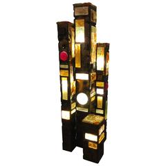 Abstract Patinated Metal and Glass Floor Lamp in the Style of Poliarte