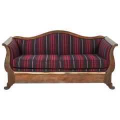 Vintage Wood Framed Camelback Settee Upholstered in Violet Pink and Black Stripe