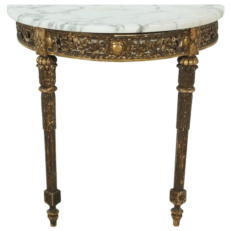 Marble-Topped Demilune Console Table For Sale